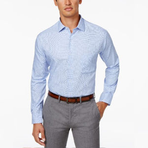 Men's Classic Fit Twill Textured Blue Dress Shirt